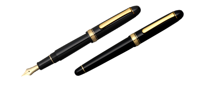 Platinum  #3776 Century Black w/ Gold Trim Fountain Pen m nib