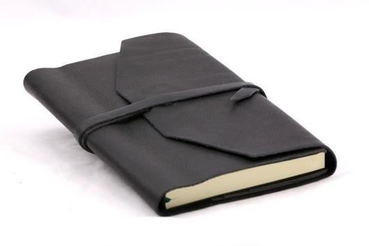 Epica Refillable Handmade Leather Wrap Journal - black