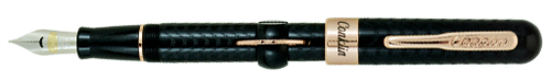 mark twain crescent fountain pen, black chased withrose gold trim, ef nib