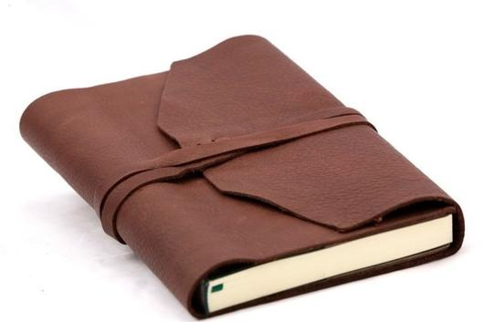 epica Refillable Handmade Leather Wrap Journal - espresso