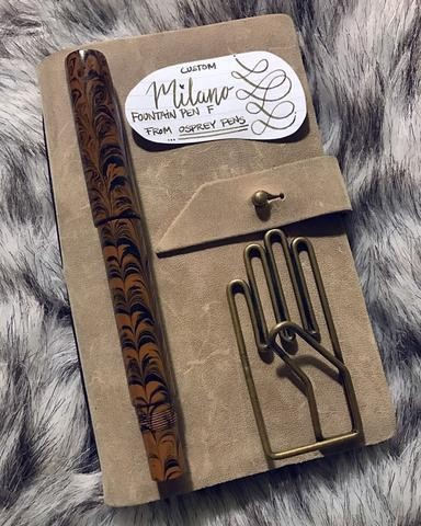 Ebonite Milano brown with black ripple  no clip  fine nibs